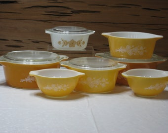 Vintage Pyrex Butterfly Gold 11 Pc. Lot