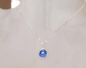 Sapphire Necklace , September Birthstone Necklace , Bridesmaids Necklace , Simple Sapphire Necklace