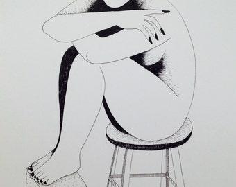 Sitzender weiblicher Akt auf einem Hocker