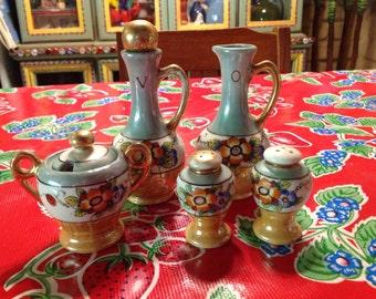 Vintage luster ware serving set, Japan- oil and vinegar, lidded sugar, salt and pepper