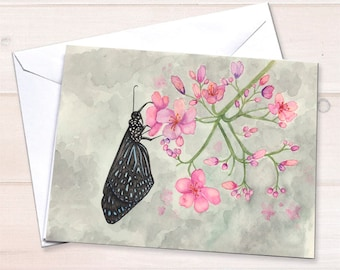 Butterfly notecards, watercolor stationery, black butterfly painting, personal stationery set, butterfly stationery, blank notecards