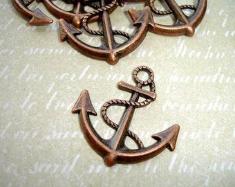 6 Antique Copper Anchor Charms