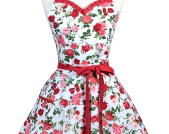 Sweetheart Retro Apron - Glamour Red Roses Apron - Womens Flirty Sexy Kitchen Pinup Cute Apron with Pocket - Monogram Option