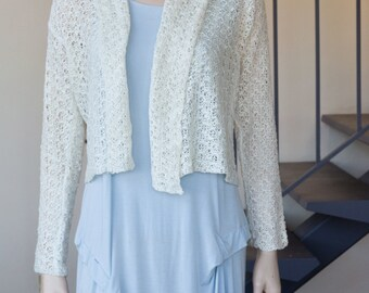 Classic knit jacket in rayon yarn cream white spring summer