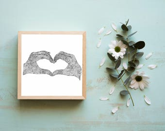 Hands Heart Zentangle, Digital Print available, Minutely detailed
