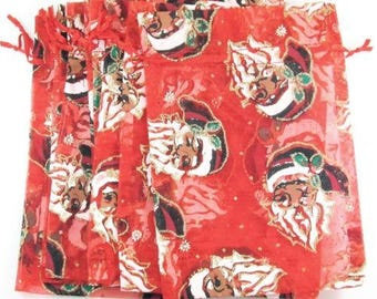 "10 Red Sheer Fabric Christmas Santa Pouches Jewelry Gift Bags 4 1/2"" x 7"""