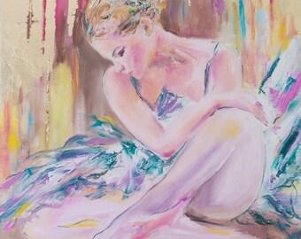 Original ballerina painting,ballerina oil painting,palette knife ballerina,ballet painting,ballet oil painting,ballet art,dancer painting