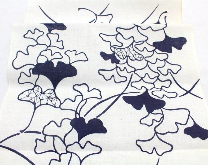 Japanese Artisan Cotton. Vintage Yukata Bolt. Blue Indigo Hand Dyed Design (Ref: 1548)