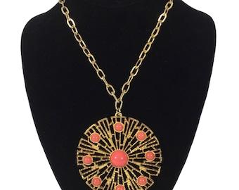 vintage 1970's sunburst necklace / gold coral / medallion pendant / statement necklace / metal necklace / vintage jewelry