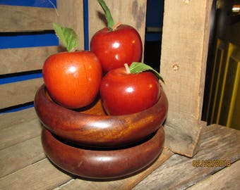 "2 Vintage Adorable Carved Wood Wooden 5 1/2"" Bowls with 3 Wood Wooden Apples Decor"