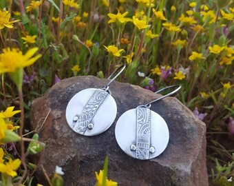 Sterling Silver Embellished Circle Earrings
