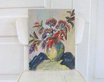 Vintage Floral Painting, Flowers Painting, Acrylic Canvas Painting, Vintage Still Life Flowers, Floral on Canvas, Wild Flowers Painting