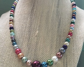 Pearl necklace, beaded necklace, handmade jewelry