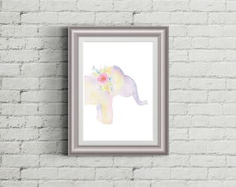 Floral Elephant Wall Art Elephant Baby Shower Elephant Decor Elephant Nursery Decor Nursery Wall Art Woodland Nursery Baby Girl Nursery