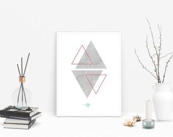 Concrete-Triangles triangles Wall Art-Concrete Wall Art-Geometric Art Prints-Geometric Wall Art-Abstract Geometric - Minimalist Geometric