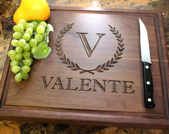 Personalized Chopping Block, 12x15~1&3/4 thick Walnut/Cherry/Sapele, Engraved Butcher Block  - Wedding, Anniversary, Housewarming Gift. 204