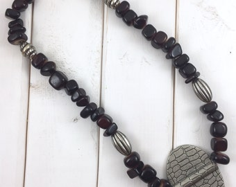 Brown beaded necklace with pendant, Brown beaded necklace