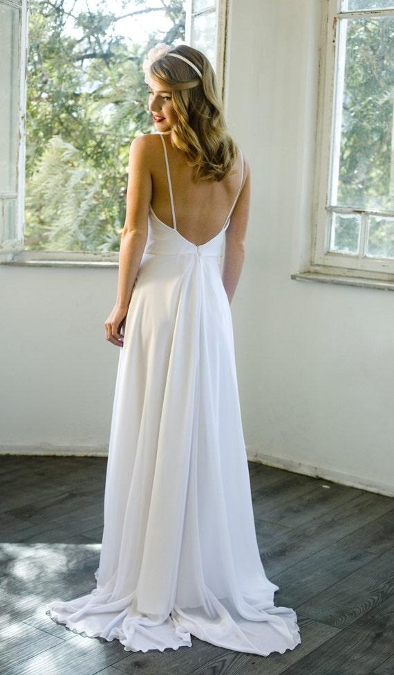 Romantic white chiffon beach wedding dress low back wedding junglespirit Image collections