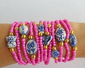 12 Porcelain bracelets - Pink Friendship Bracelets - Boho Chic Summer - porcelain bead - layering bracelets - beaded bracelets - stacking
