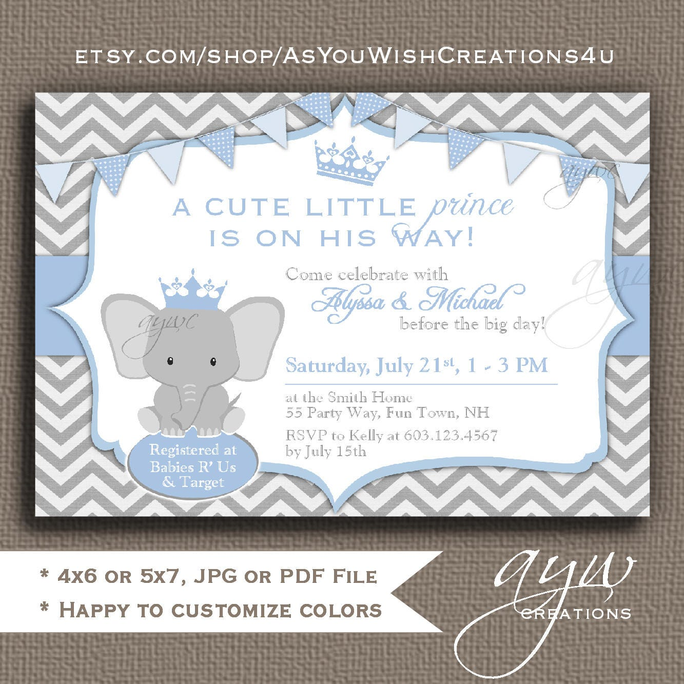 Elephant Baby Shower Invitation Blue Grey Prince Baby Shower