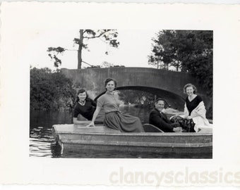 vintage photo 1955 Mid Century snapshot Boating Golden Gate Park San Francisco