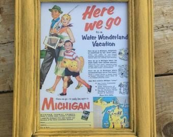 Vintage-Inspired Michigan Framed Art