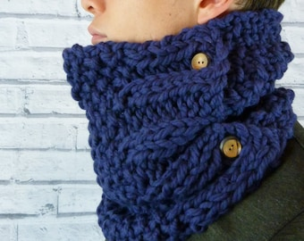 Men's Hand knitted Cowl, neckwarmer 100% merino wool - Navy Blue