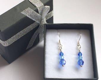 Sapphire & Aquamarine Crystal Earrings