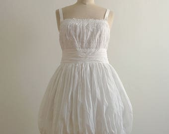 Philosophy by Alberta Ferretti white cotton pleated balloon dress