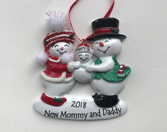 New Parents Personalized Christmas Ornaments / Family of Three Ornament / Snowmen Family Ornament / New Mommy and Daddy