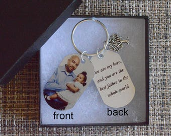 Personalized  Photo Dad Dog Tag Keychain, Custom Photo Tag, Picture Dog Tag, Custom Dad photo keychain, Personalized gift,  tag102