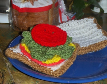 Crochet Baby  or Toddler Toy Food. Ham Cheese  Lettuce & Tomato Sandwich with White Bread. Kid's Play House Kitchen accessory Learning toys