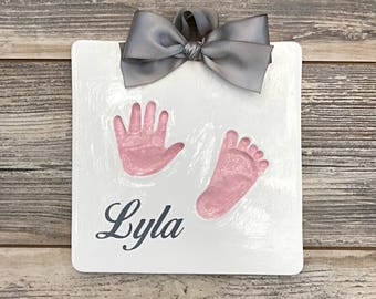 Personalized Handprint Art - Baby Feet Imprint Kit - Baby Handprint and Footprint - Keepsake of Your Baby - Unique Custom Baby Keepsake