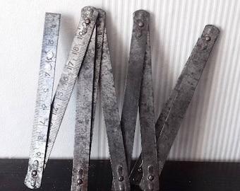 Vintage Metal Folding Ruler Meter, 100cm