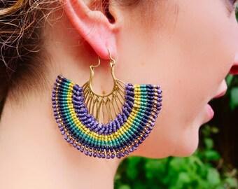 Leaf Macrame Brass Earrings | Green, Blue, Purple, Yellow | Bohemian Chic