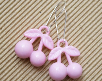 Kitsch Pale Pink Cherry Design Silver Plated Earrings