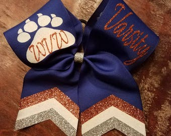 Custom 2 Names on Loops Cheer Bow /Dance Bow / Softball Bow with Glitter Chevron Tail
