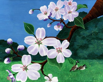 Two Canadian Geese by Purple Cherry Blossom Tree Poster Print, purple blue green sakura geese painting