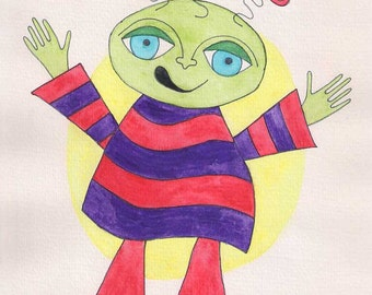 Alien wall art, alien art, alien painting, alien watercolor, little green man art, art for children, art for child, red purple green yellow