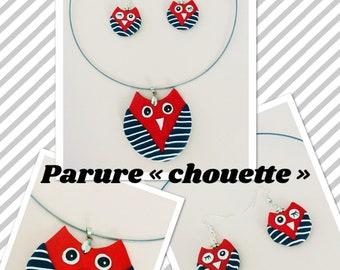 Set of owls (necklace + earrings)