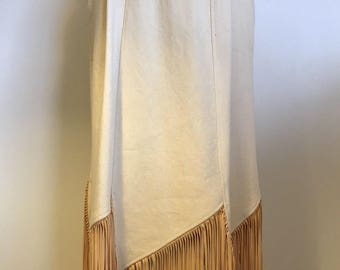 WESTERN COLLECTION Cowgirl Fringed SKIRT Long Tan S / 4 Costume Vintage