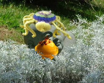 Lemon Drop Spider, hand woven, arachnid, Zen, magical creature, textile art, Spiders
