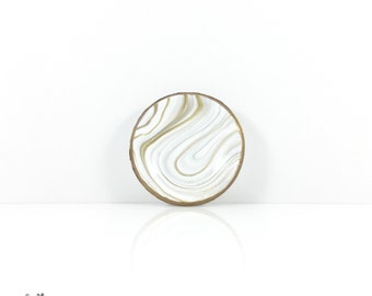 Marbled Clay Bowl // Ring Dish // Jewelry Holder // Trinket Dish // Gold and White
