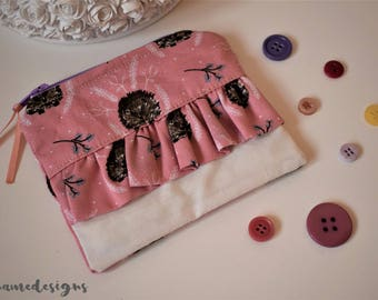 Pink Hedgehog and Floral Print Frilly Ruffle Coin Purse