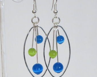 Earrings, silver color turquoise and lime green, oval