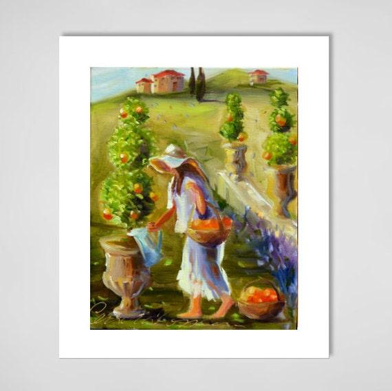 TOPIARY GARDEN Art Print of an Original oil painting.Tuscan