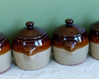Brownware Mini Mousse Pots! Bean Crock Pots-Vintage-Set of 4- Lion Head Handles Potpourri Press Brand Pottery Recipes Included