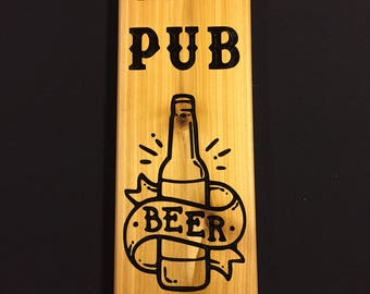 Personalized Custom Carved Pub Bar Tavern Saloon Wood Sign / Plaque