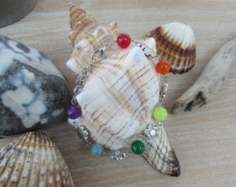 """Multicolor flowers and """"Rainbow"""" natural stone silver bracelet"""