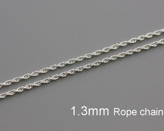 Sterling Silver 1.3mm Rope Chain - 5ft 20ft 50ft   USA made wholesale Jewelry Chain Supply (3142)